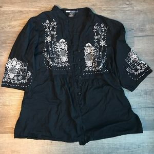 Denim 24/7 Plus Size Boho Black Peasant Top 22